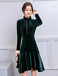 cheap -Women's Casual/Daily Street chic Sheath Swing Dress,Solid Crew Neck Knee-length Long Sleeve Polyester Winter Fall High Waist Micro-elastic
