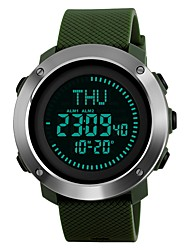 cheap -SKMEI Men's Sport Watch / Wrist Watch / Digital Watch Japanese Alarm / Calendar / date / day / Chronograph PU Band Luxury / Casual Black / Green / Stainless Steel / Water Resistant / Water Proof