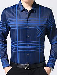 Masculino Camisa Social Casual Trabalho Temática Asiática Outono,Listrado Algodão Colarinho de Camisa Manga Comprida