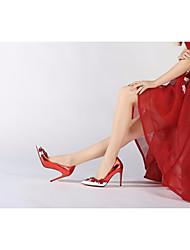 preiswerte -Damen Schuhe Leder Frühling Sommer Pumps High Heels Stöckelabsatz Applikationen für Normal Rot Blau
