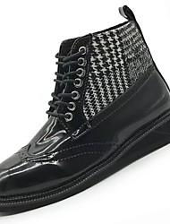 Feminino Sapatos Couro Ecológico Inverno Outono Conforto Botas da Moda Botas Salto Robusto Ponta Redonda Botas Cano Médio para Casual