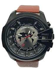 Pánské Náramkové hodinky čínština Křemenný Velký ciferník Kůže Kapela Na běžné nošení Cool Černá Hnědá