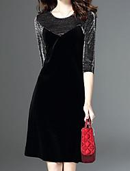 economico -Linea A Vestito Da donna-Per uscire Casual Moda città Tinta unita Rotonda Mini Mezza manica Cashmere Cotone Modal Autunno A vita