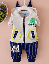 cheap -Boys' Daily Going out Solid Print Cartoon Clothing Set,Cotton All Seasons Long Sleeve Cute Casual Active Red Gray Yellow