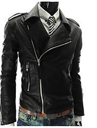 Недорогие -Муж. Кожаные куртки Рубашечный воротник Простой - Однотонный, Искусственная кожа Крупногабаритные