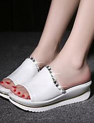 economico -Da donna Scarpe PU (Poliuretano) Estate Comoda Pantofole e infradito Ballerina Occhio di pernice per Casual Bianco Blu Rosa