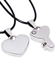 cheap -Couple's Heart Key Heart Korean Pendant Necklace , Stainless Steel Leather Pendant Necklace , Date Street
