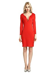 cheap -Women's Party Club Vintage Casual Sexy Bodycon Sheath Dress,Solid V Neck Above Knee Long Sleeve Rayon Polyester Spandex All Season Spring