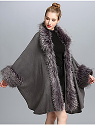 cheap -Women's Faux Fur Fur Coat - Solid Colored, Fur Trim V Neck
