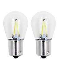 economico -2 pz 2 w cob turn light 1156/1157 bianco / caldo / blu / giallo / rosso vetro di colore led filamento s25 auto auto dc12v