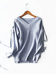 Standard Pullover Da donna-Sport Casual Tinta unita Rotonda Manica lunga Cashmere Elastene Inverno Spesso strenchy