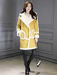 cheap -Women's Casual/Daily Simple Winter Fall Coat,Solid Hooded Long Sleeve Long PU Lamb Fur