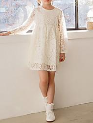 Robe Fille de Décontracté / Quotidien Couleur Pleine Polyester Hiver Automne Manches Longues simple Beige