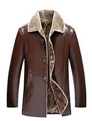 cheap -Men's Daily Casual Winter Fall Jacket,Solid Shirt Collar Long Sleeve Regular PU