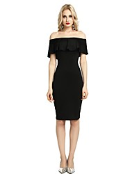 cheap -Women's Party Club Vintage Casual Sexy Bodycon Sheath Dress,Solid Boat Neck Above Knee Short Sleeve Rayon Polyester Spandex All Season