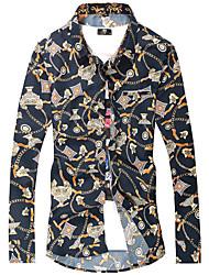 Недорогие -Для мужчин Для клуба На выход Все сезоны Рубашка Рубашечный воротник,На каждый день Панк & Готика С принтом Длинные рукава,Полиэстер,