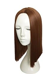 economico -Donna Parrucche sintetiche Pantaloncini Kinky liscia Media Auburn Attaccatura dei capelli naturale Taglio scalato Parrucca Cosplay