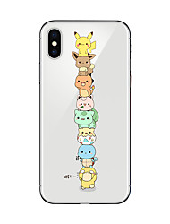 cheap -Case For iPhone X iPhone 8 Transparent Pattern Back Cover Cartoon Soft TPU for iPhone X iPhone 8 Plus iPhone 8 iPhone 7 Plus iPhone 7