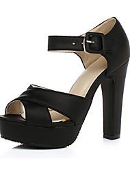 baratos -Mulheres Sapatos Pele Nobuck Primavera Verão Conforto Inovador Sandálias Salto Alto Peep Toe Presilha para Casamento Festas & Noite Preto
