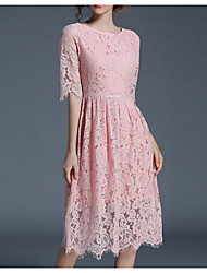 cheap -Women's Going out A Line Lace Swing Dress - Solid Colored Lace Vintage Style