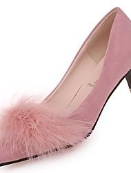 baratos -Mulheres Sapatos Pele Nobuck Inverno Conforto Saltos Salto Baixo Dedo Apontado Penas Cinzento / Verde / Rosa claro