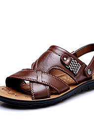 cheap -Men's Shoes Amir 2018 New Style Hot Sale Outdoor / Casual Comfort Leather Beach Sandals Brown / Black / Orange