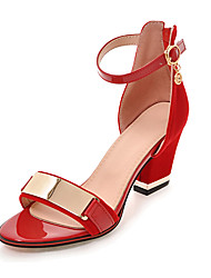 cheap -Women's Shoes Leatherette Spring / Summer Club Shoes Sandals Chunky Heel Zipper / Metallic Toe Black / Red / Party & Evening