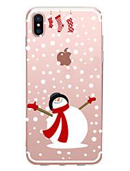 Недорогие -Кейс для Назначение Apple iPhone X / iPhone 8 Прозрачный / С узором Кейс на заднюю панель Рождество Мягкий ТПУ для iPhone XS / iPhone XR / iPhone XS Max