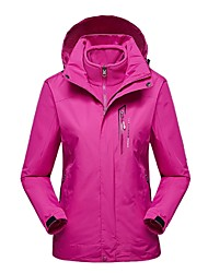 cheap -Women's Hiking 3-in-1 Jackets Outdoor Winter Windproof Winter Jacket 3-in-1 Jacket Top Full Length Visible Zipper Camping / Hiking Ski /