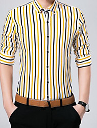 cheap -Men's Business Chinoiserie Cotton Slim Shirt Print