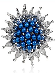 cheap -Women's Brooches Imitation Pearl Fashion Imitation Pearl Alloy Flower White Dark Blue Blue Jewelry For Wedding Party