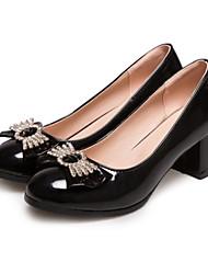 cheap -Women's Shoes PU(Polyurethane) Spring / Fall Comfort / Novelty Heels Chunky Heel Round Toe Rhinestone / Bowknot Beige / Red / Pink