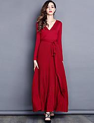 Ample Robe Femme Travail Plage simple,Couleur Pleine Col en V Maxi Manches longues Acrylique Polyester Printemps Automne Taille Haute