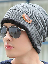 Men's Sweater Floppy Hat,Work Casual Solid Winter Knitted Gray