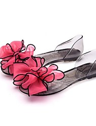 preiswerte -Damen Schuhe Gummi Sommer Transparente Schuh Sandalen Flacher Absatz Peep Toe Satin Blume für Normal Schwarz Rot Rosa