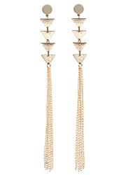 cheap -Women's Drop Earrings Hoop Earrings Tassel Fashion Statement Jewelry Stainless Steel Triangle Geometric Line Jewelry Party Bar