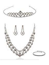 cheap -Women's Rhinestone Imitation Diamond Jewelry Set Body Jewelry / 1 Necklace / Earrings - Fashion / European White Tiaras / Bridal Jewelry