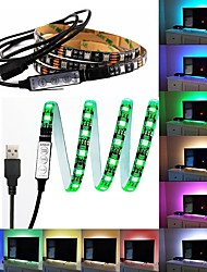 cheap -1m RGB Strip Lights 60 LEDs 5050 SMD 1M LED Strip Light / 17-Key Remote Controller RGB TV Background Light <5 V 1pc / IP65