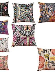 cheap -8 pcs Linen Pillow Cover,Floral Geometric Art Deco