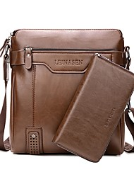 preiswerte -Herrn Taschen PU Bag Set 2 Stück Geldbörse Set Reißverschluss für Veranstaltung / Fest Schwarz / Braun / Dunkelbraun