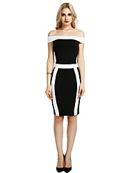 cheap -Women's Party Club Vintage Casual Sexy Bodycon Sheath Dress,Color Block Boat Neck Above Knee Sleeveless Rayon Polyester Spandex All