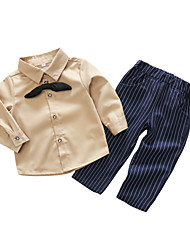 cheap -Baby Boys' Daily Solid Striped Clothing Set, Cotton Polyester Spring Simple Long Sleeves Beige