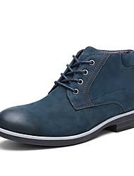 Недорогие -Муж. обувь Кожа Осень / Зима Модная обувь Ботинки Сапоги до середины икры Коричневый / Тёмно-синий