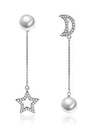 cheap -Women's Mismatch Star Cubic Zirconia Imitation Pearl Drop Earrings - Mismatch Moon Star For Ceremony Valentine