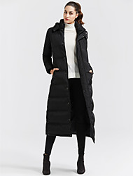 cheap -Women's Long Down Coat,Casual Daily Solid-Cotton Polypropylene Long Sleeves Hooded