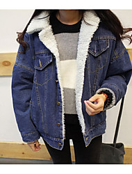 cheap -Women's Casual/Daily Simple Winter Fall Denim Jacket,Solid Shirt Collar Long Sleeve Regular Cotton Lamb Fur