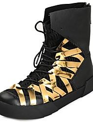 Masculino sapatos Borracha Inverno Outono Conforto Botas Caminhada Botas Cano Médio Cadarço de Borracha para Preto Preto e Dourado