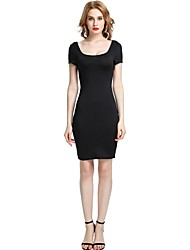 cheap -Women's Party Club Vintage Casual Sexy Bodycon Sheath Dress,Solid U Neck Above Knee Short Sleeve Rayon Polyester Spandex All Season Spring