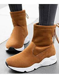 Feminino Sapatos Pele Nobuck Primavera Outono Conforto Botas de Neve Botas Sem Salto Botas Curtas / Ankle para Casual Preto Amarelo