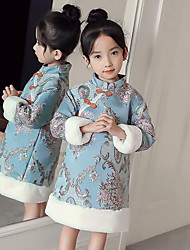 cheap -Girl's Daily Going out Floral Embroidery Patchwork Dress,Polyester Winter Fall Long Sleeves Vintage Chinoiserie Light Blue